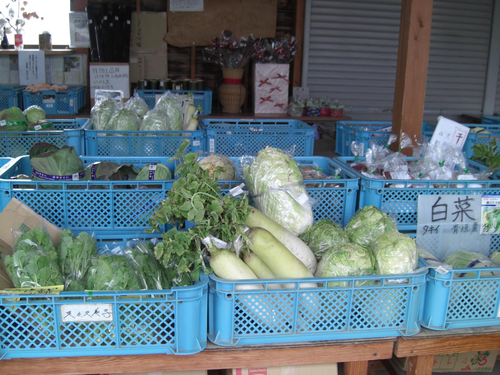 新鮮野菜がいっぱい、夢楽市場